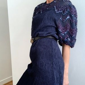Vintage Sequin Puff Sleeve Midi Dress